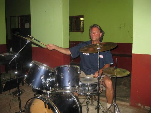 JM on drums